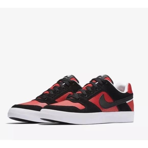 Nike Sb Delta Force Vulc Red Black Skate Shoes
